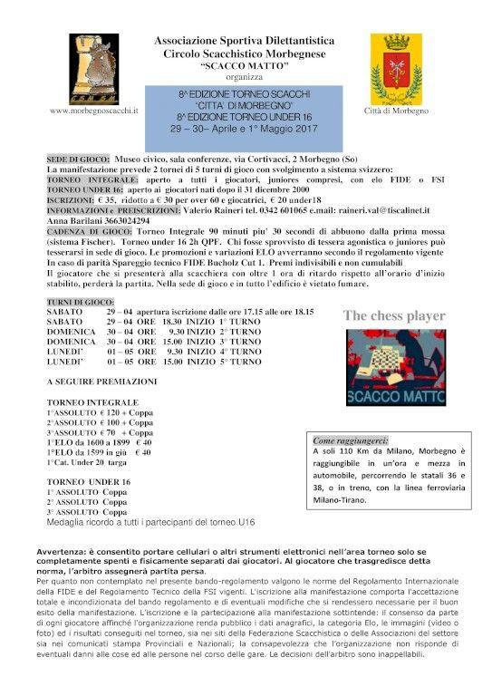 Calendario Tornei Scacchi.Torneo Di Scacchi Citta Di Morbegno Valtellina Sport